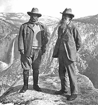 Teddy Roosevelt and John Muir at Yosemite National Park NPS Historical Photo